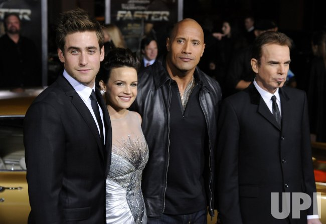 "Oliver Jackson-Cohen, Carla Gugino, Dwayne Johnson and Billy Bob Thornton attend the premiere of the film ""Faster"" in Los Angeles"