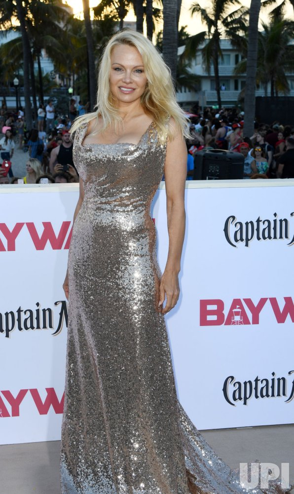 Pamela Anderson Attends the US Premiere of Baywatch in Miami Beach Florida