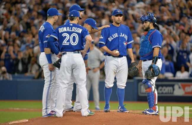 Blue Jays starter Estrada waits to be relieved in eighth inning