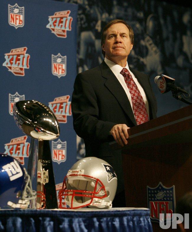 Super Bowl XLII coaches press conferences Bill Belichick