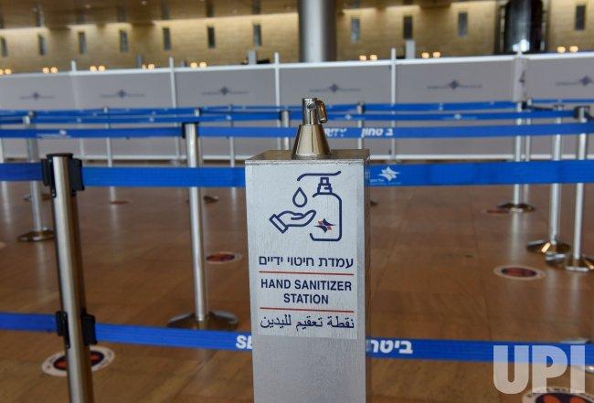 A Hand Sanitzer Station In Ben Gurion Airport