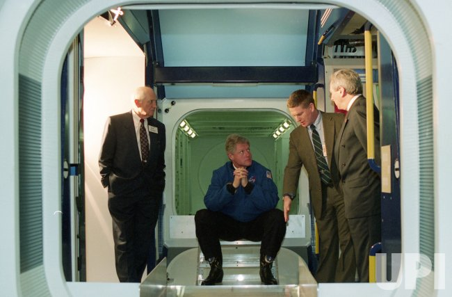 U.S. President Bill Clinton visits Johnson Space Center in Houston