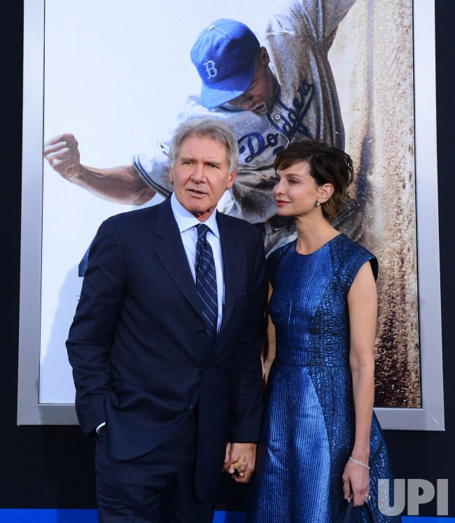 "Harrison Ford and Calista Flockhart attend the ""42"" premiere in Los Angeles"