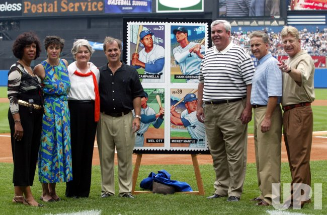 """BASEBALL SLUGGERS"" POSTAGE STAMP CEREMONY AT YANKEE STADIUM"
