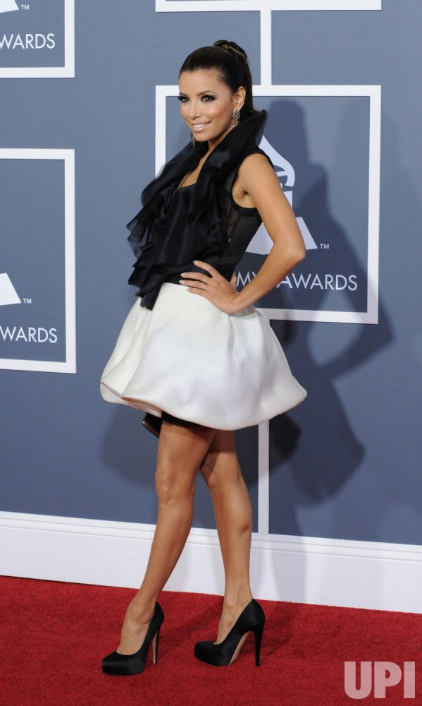 Eva Longoria arrives at the 53rd Grammy Awards in Los Angeles