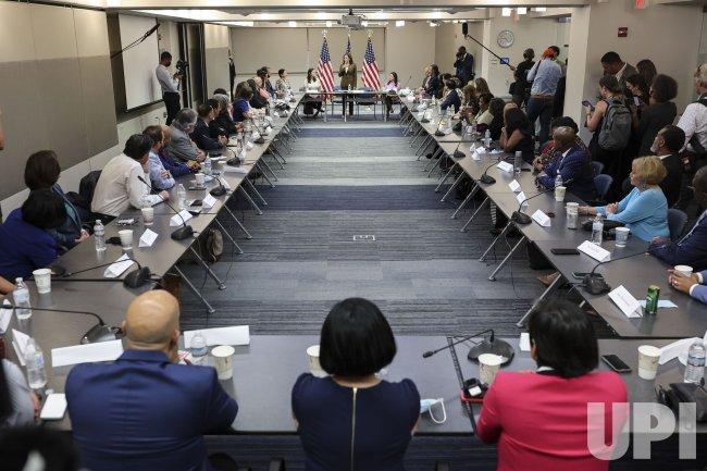 Vice President Kamala Harris speaks while meeting with Texas legislators