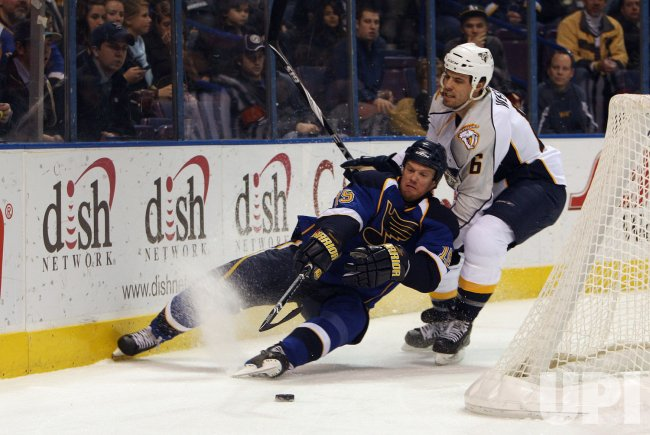 Nashville Predators Shea Weber and St. Louis Blues Brad Winchester