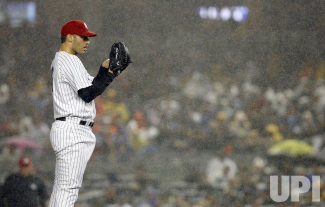 New York Yankees Andy Pettitte against the Baltimore Orioles at Yankee Stadium in New York