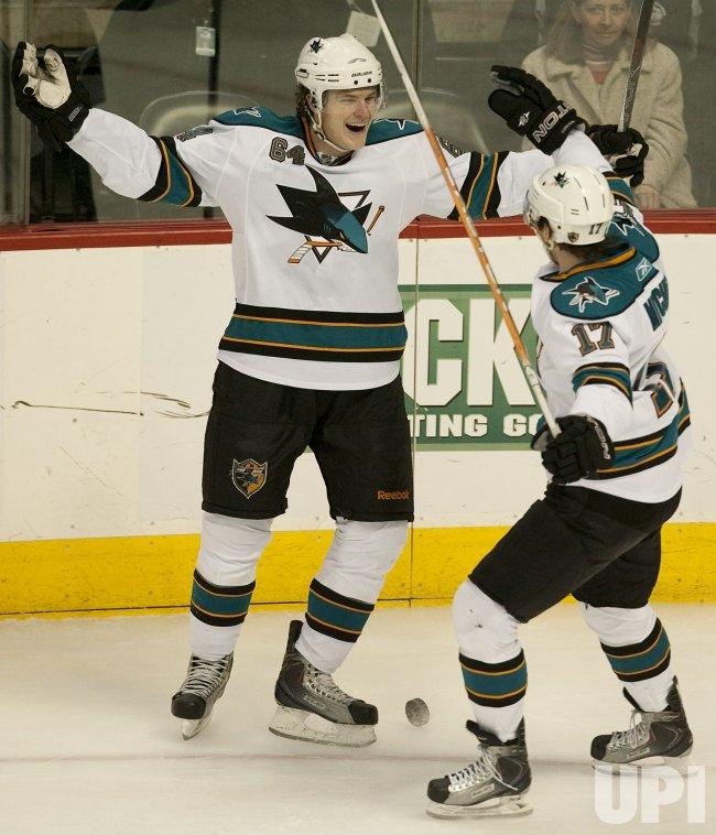 Sharks McGinn Celebrates Goal Against the Avalanche in Denver