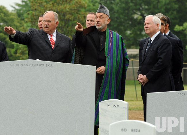 Afghan President Karzai visits Arlington National Cemetery in Arlington, Virginia