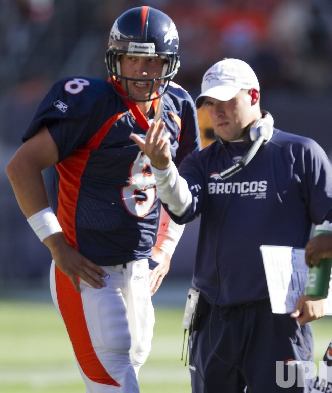 Broncos Head Coach McDaniels and Quarterback Orton Talk in Denver