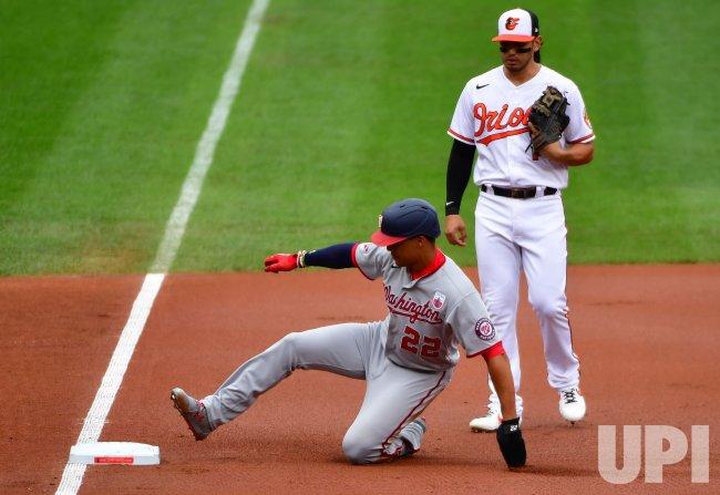 Nationals' Juan Soto reaches third base against Orioles