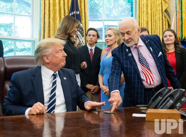 President Donald Trump meets with Apollo 11 Astronauts Aldrin and Collins at the White House