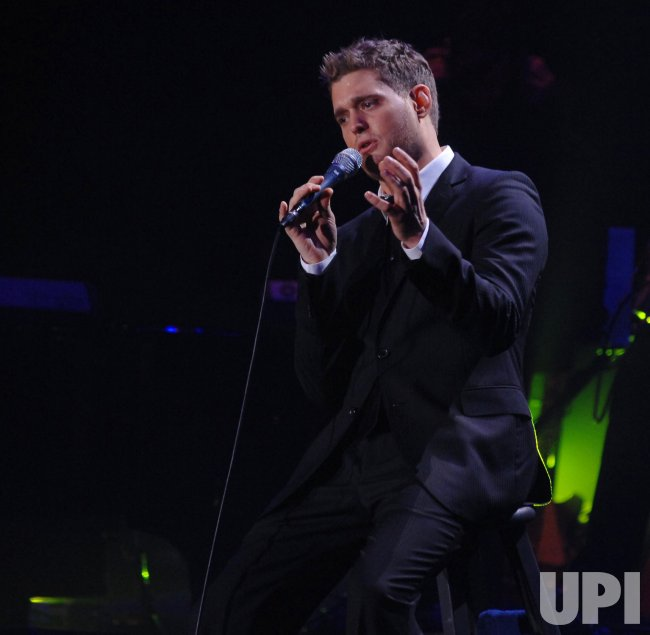 Michael Buble performs in London