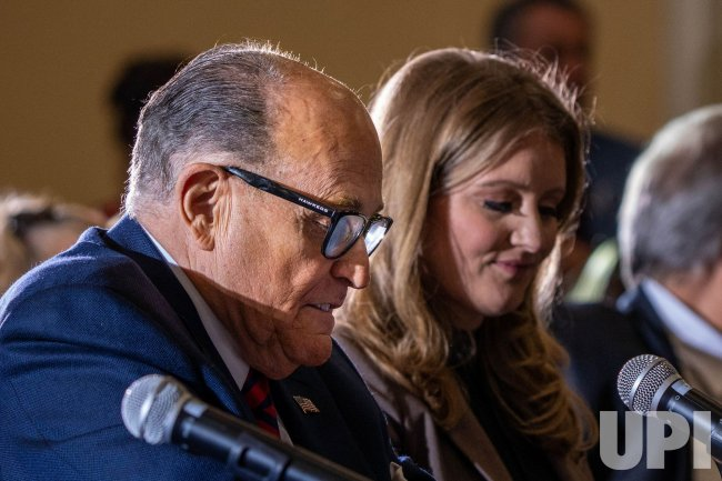 Rudy Guliani speaks at a hearing on Election Results in Pennsylvania