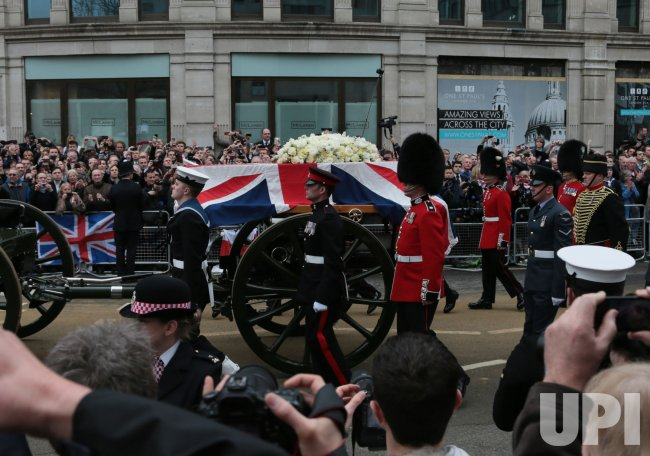 Coffin of Margaret Thatcher taken to St.Paul's Cathedral for Ceremonial service
