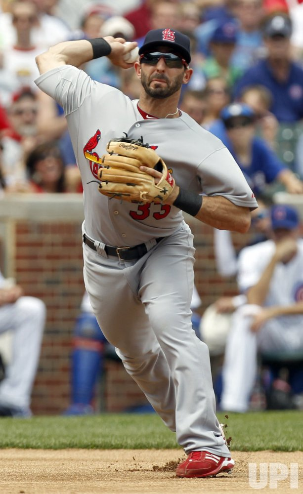 Cardinals Descalso Throws Out Cubs Byrd