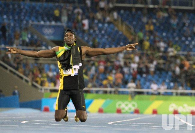 Usain Bolt of Jamaica celebrates at Rio Olympics