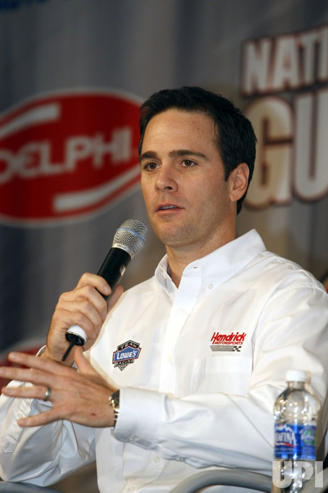 Jimmie Johnson during NASCAR media tour press conference in Concord, North Carolina