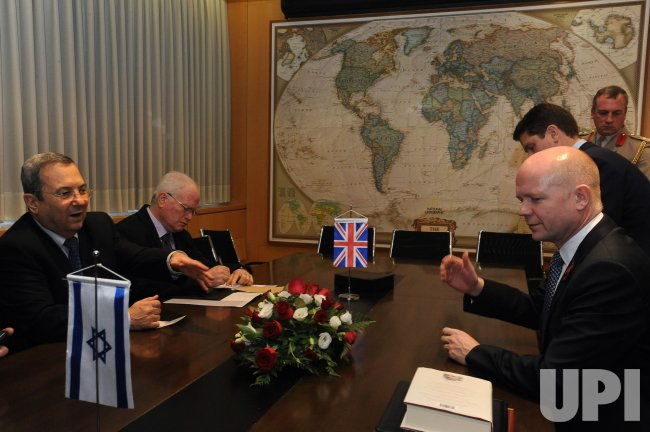 Israeli Defense Minister Barak Meets British Foreign Secretary Hague