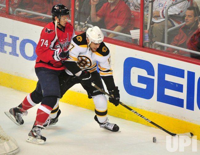 Capitals John Carlson plays defense against Bruins Milan Lucic in Washington