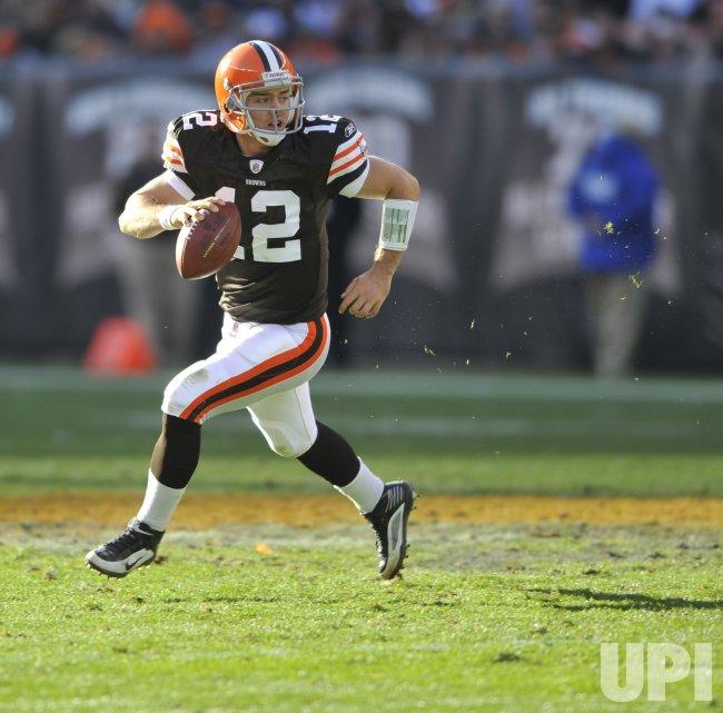 Browns Quarterback McCoy Scrambles in Cleveland