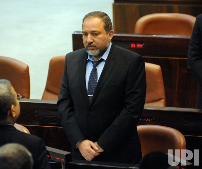 Israeli Foreign Minister Avigdor Lieberman attends a memorial session for slain Israeli Prime Minister Yitzhak Rabin in the Knesset in Jerusalem