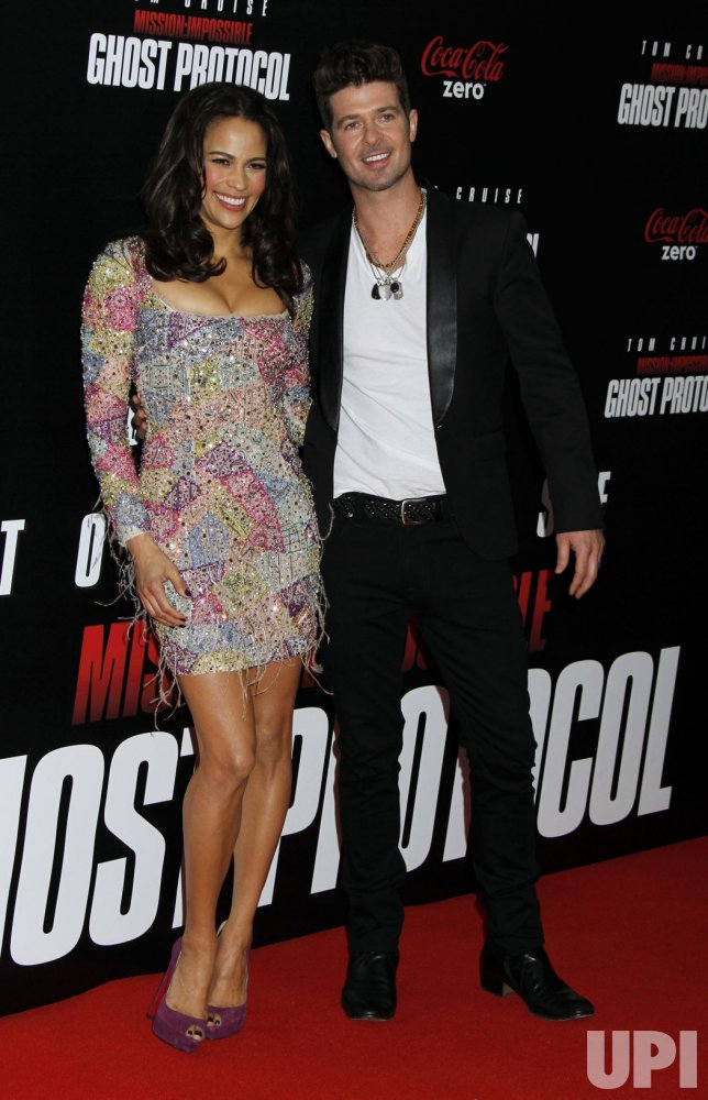 "Paula Patton and Robin Thicke arrive for the ""Mission:Impossible Ghost Protocol"" Premiere in New York"