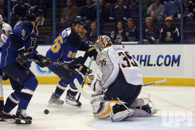 St. Louis Blues B J Crombeen and Paul Kariya