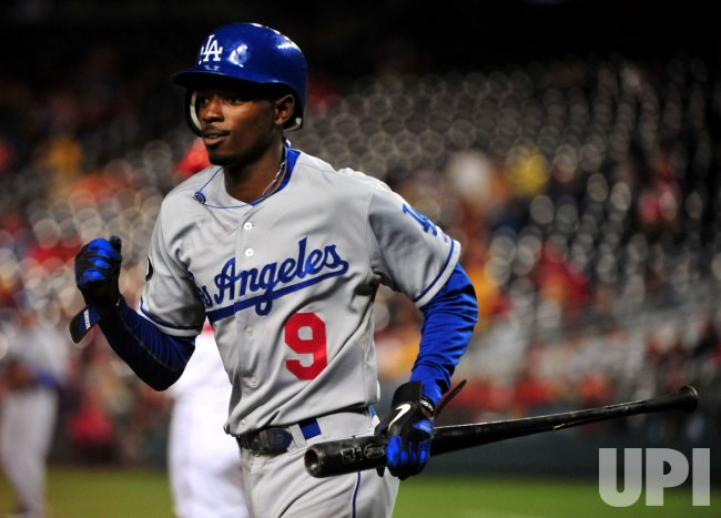 Dodgers' Dee Gordon celebrates in Washington