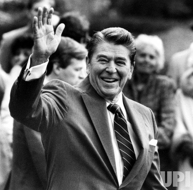 PRESIDENT REAGAN LEAVES TO SPEAK AT LOCAL HIGH SCHOOL