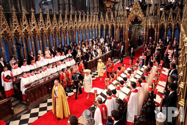 Queen Elizabeth II arrives at Royal Wedding in London
