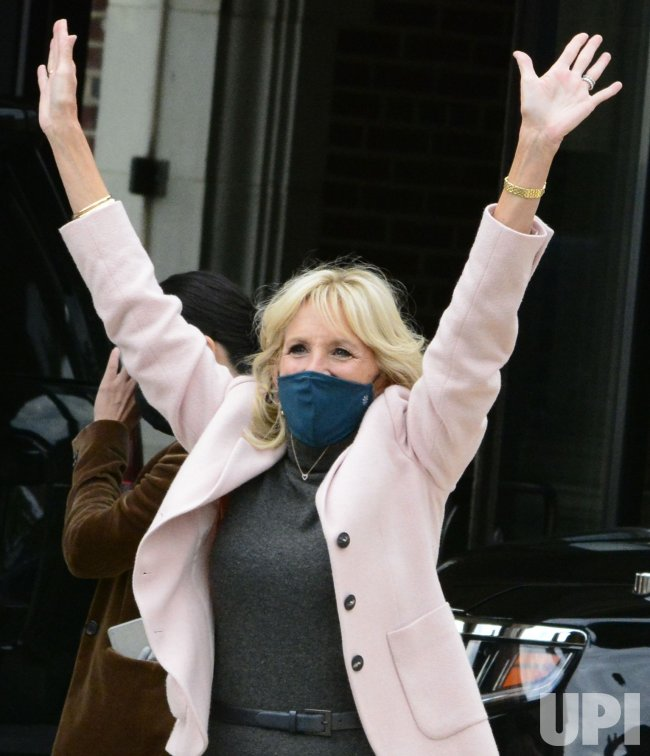 Jill Biden Waves to Supporters During Train Tour in Pennsylvania
