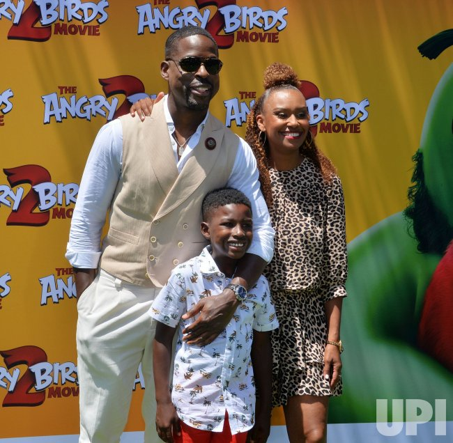 "Sterling K. Brown and family attend ""The Angry Birds Movie 2"" premiere in Los Angeles."