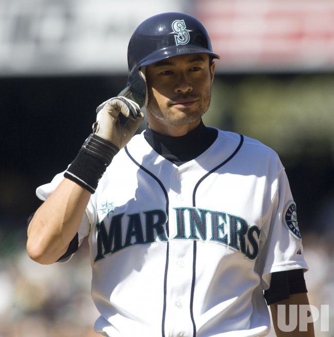 Seattle Mariners' Ichiro Suzuki returns to first base against the New York Yankees in the sixth inning at SAFECO Field in Seattle.