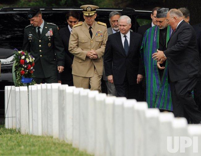 Afghan President Karzai visits Arlington National Cemetery in Arlington, Virginia