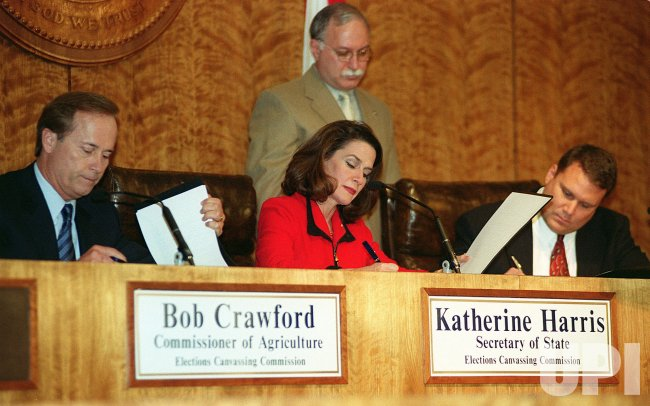 Secretary of State Katherine Harris certifies the vote