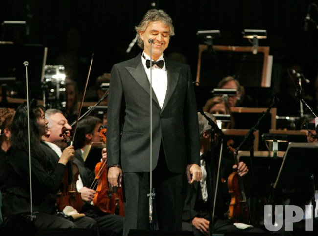 Andrea Bocelli performs in concert in Sunrise, Florida