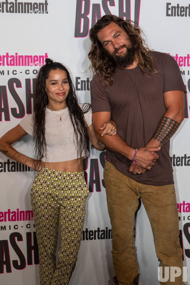Jason Momoa and Zoe Kravitz attends Entertainment Weekly's Comic-Con celebration party in San Diego, California