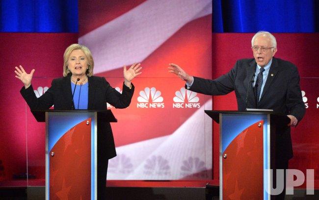Democratic Presidential Candidates Clinton and Sanders debate in Charleston