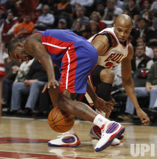 Bulls' Gibson steals the ball from Pistons' Stuckey in Chicago