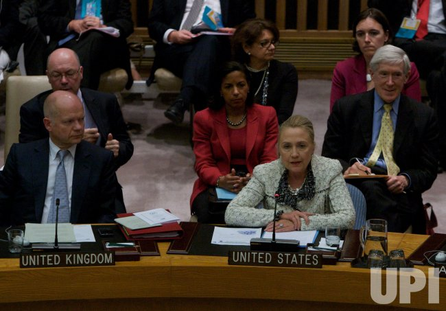 U.S. Secretary of State Hillary Clinton speaks at the Security Council meets during the 67th session of the General Assembly at the United Nations