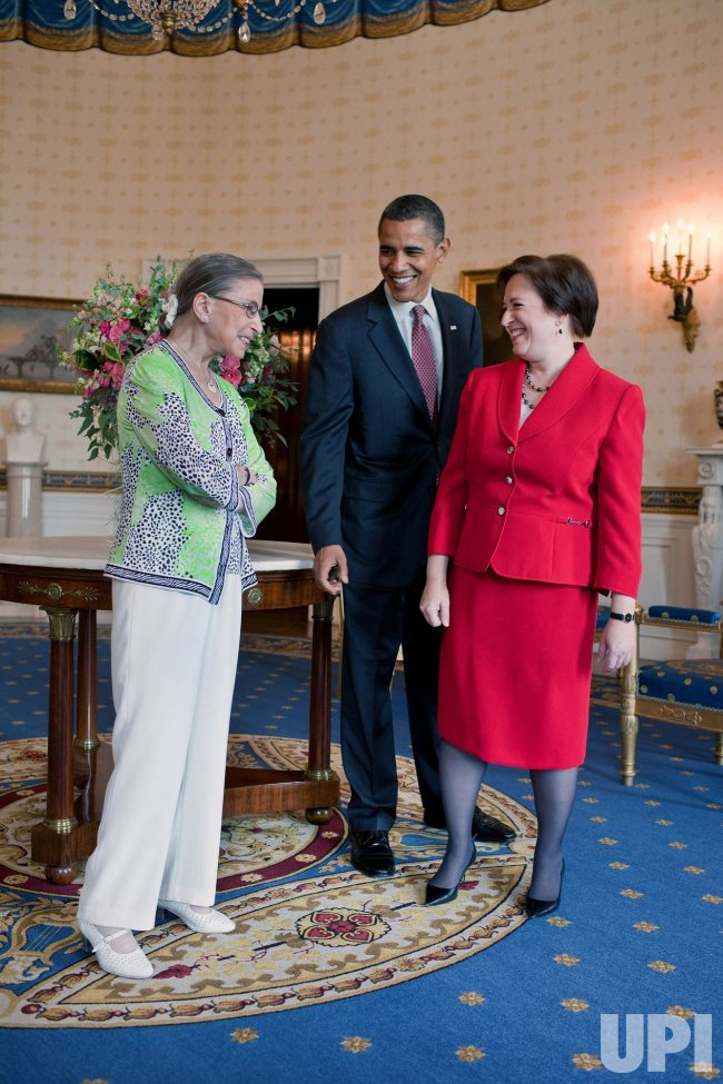U.S. President Barack Obama greets Elena Kagan and Ruth Bader Ginsburg in Washington