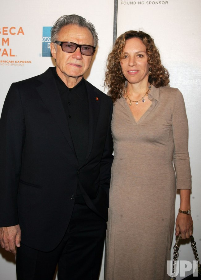 "Harvey Keitel and wife Daphna Kastner arrive for the Premiere of ""Ondine"" at the Tribeca Film Festival in New York"