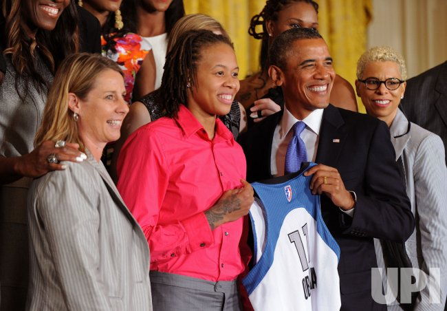President Obama welcomes the WNBA champion Minnesota Lynx to the White House in Washington