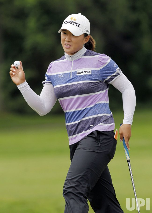 Amy Yang plays in the third round of the Wegmans LPGA Championship at Locust Hill Country Club in New York