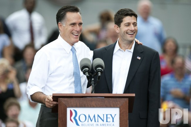 Republican candidate Mitt Romney announces Paul Ryan as running mate in Norfolk