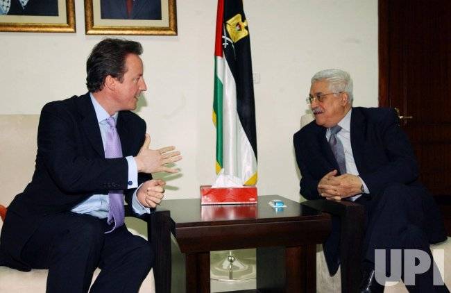 BRITISH CONSERVATIVE PARTY LEADER CAMERON MEETS PALESTINIAN PRESIDENT ABBAS IN RAMALLAH