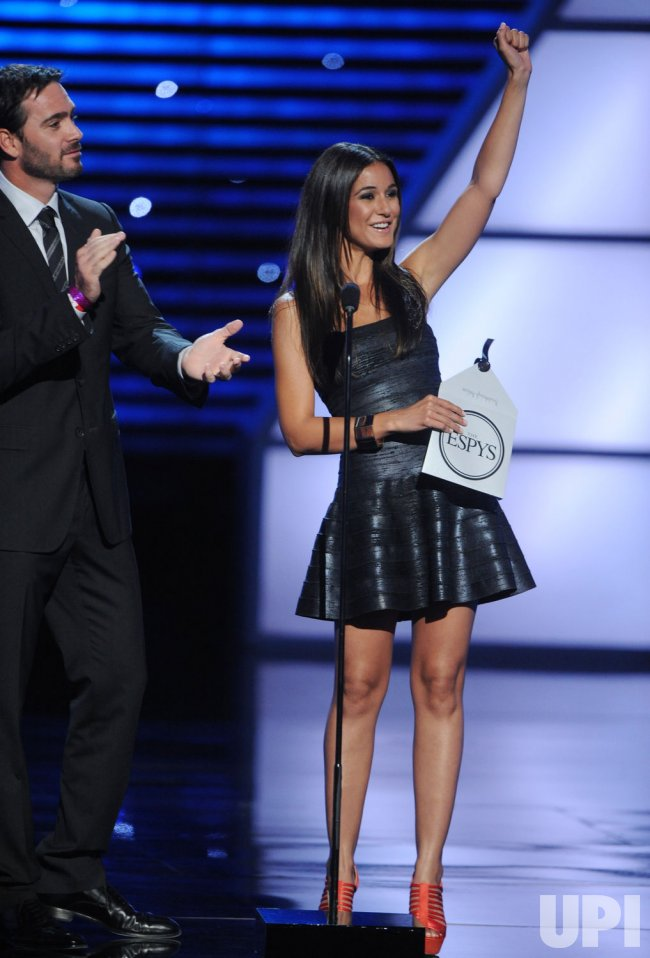 Jimmie Johnson and Emmanuelle Chriqui present award at the ESPY Awards in Los Angeles