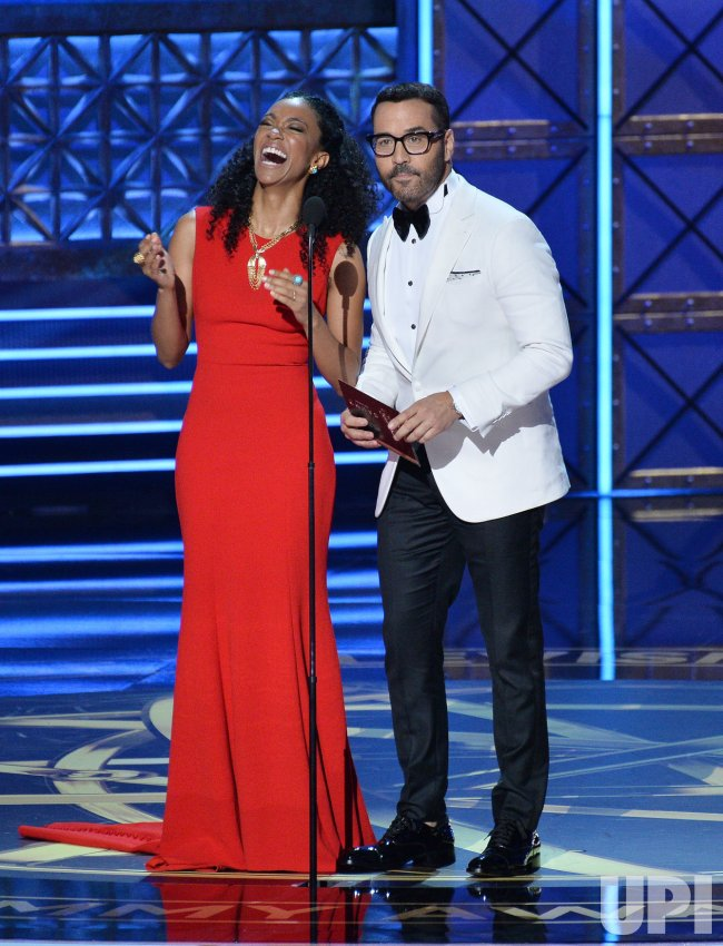 Sonequa Martin-Green and Jeremy Piven onstage at the 69th annual Primetime Emmy Awards in Los Angeles